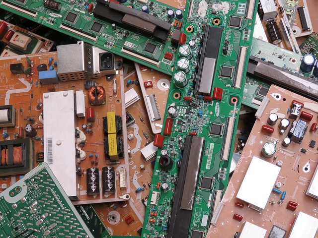 Electronic boards piled up in the trash