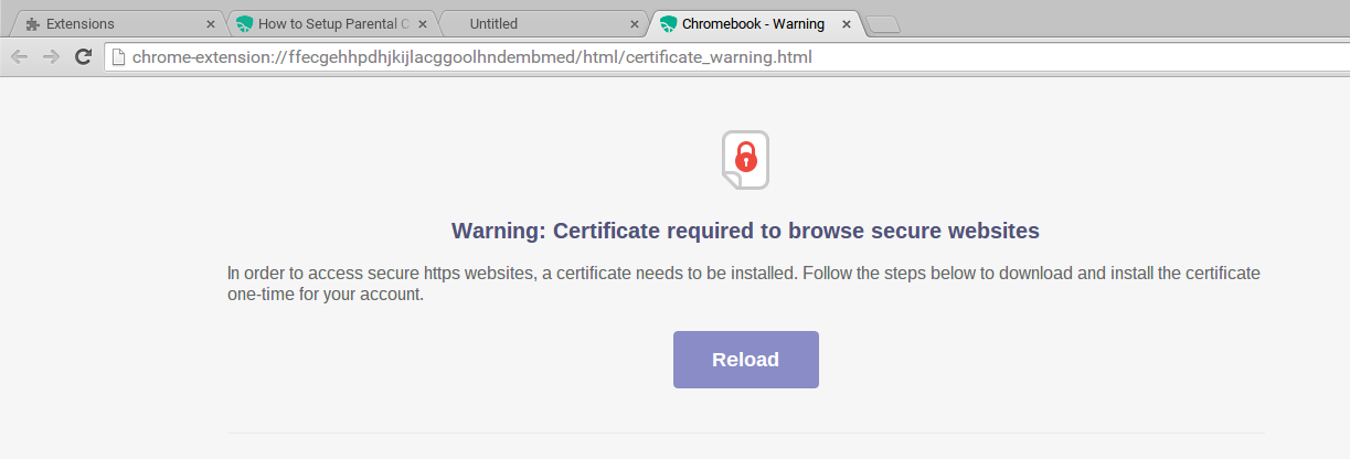 Mobicip certificate warning message