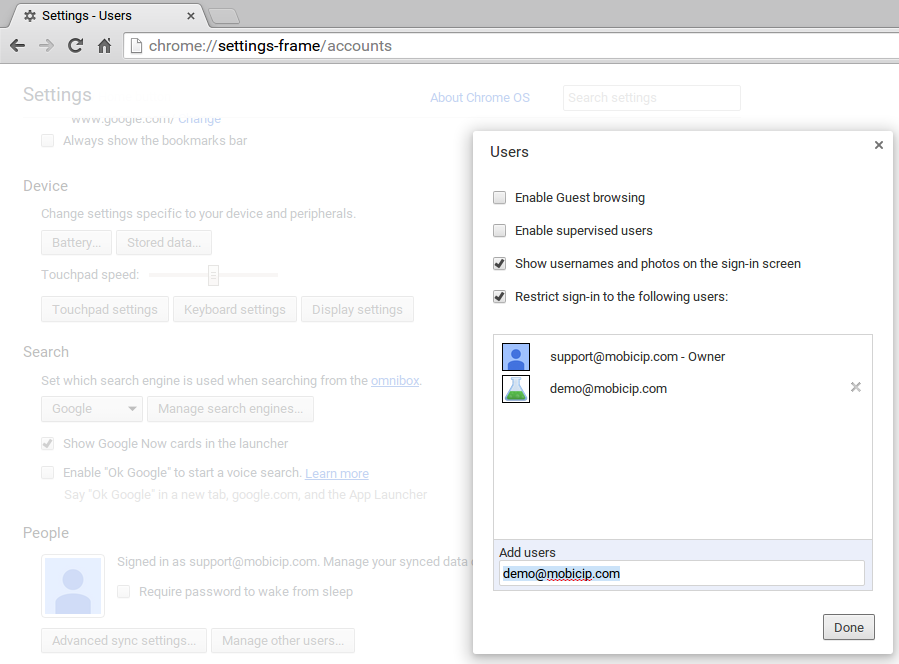 Chrome parental controls - Screenshot of device restrictions