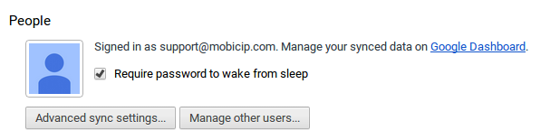 Chromebook parental controls - Screenshot of require password to wake from screen setting